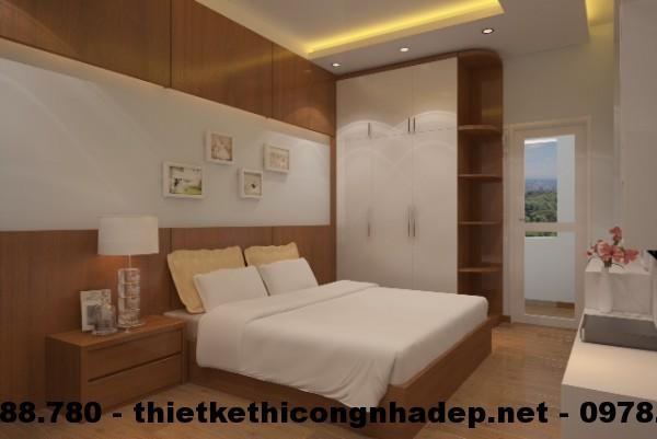 Thi công nội thất chung cư giá rẻ với phòng ngủ master hiện đại