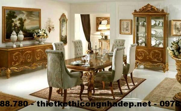 Bàn ghế ăn cổ điển Châu Âu BGACD3