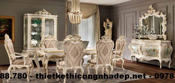 Bàn ghế ăn cổ điển Châu Âu BGACD6