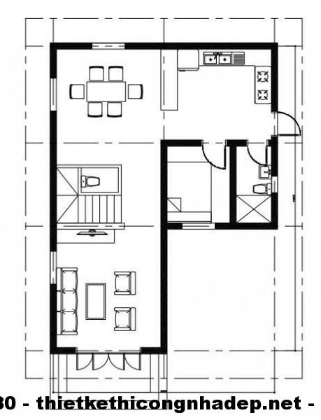 Mặt bằng tầng 1 biệt thự 2 tầng 9x11m