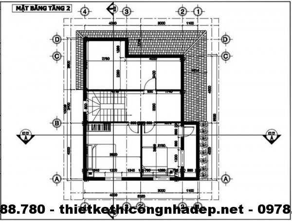Mặt bằng tầng 2 nhà đẹp 8x10m