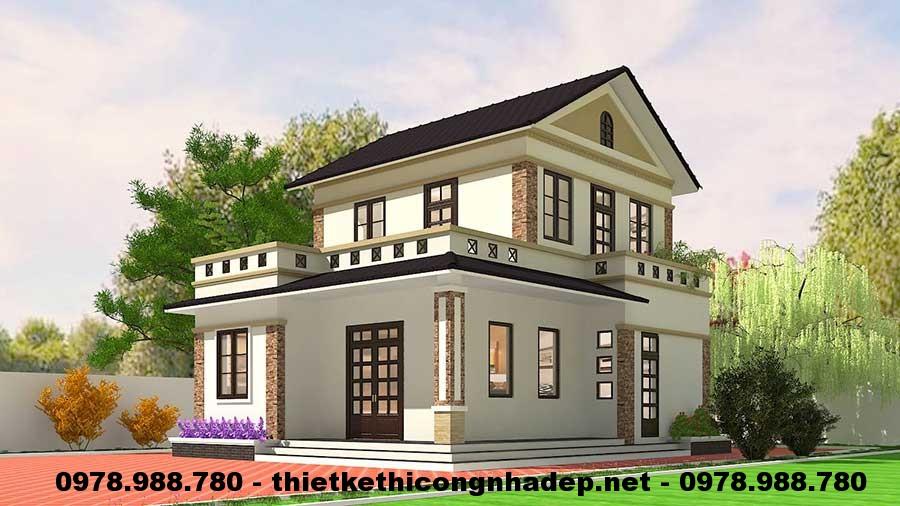 Nhà đẹp 2 tầng mái thái 8x10m