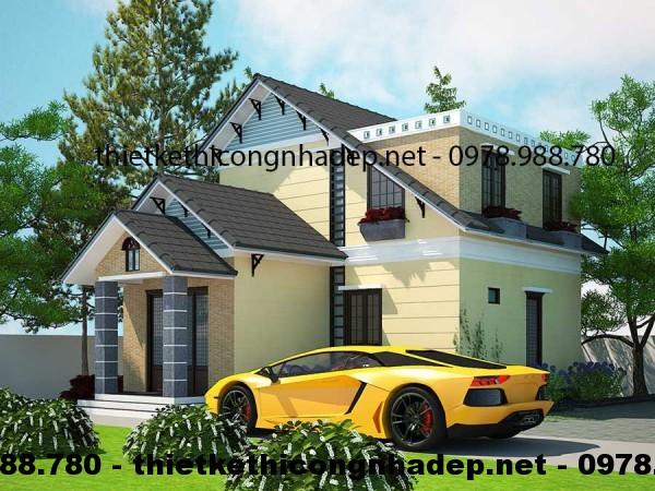 Mẫu nhà biệt thự 2 tầng nhỏ gọn xinh xắn 9x11m