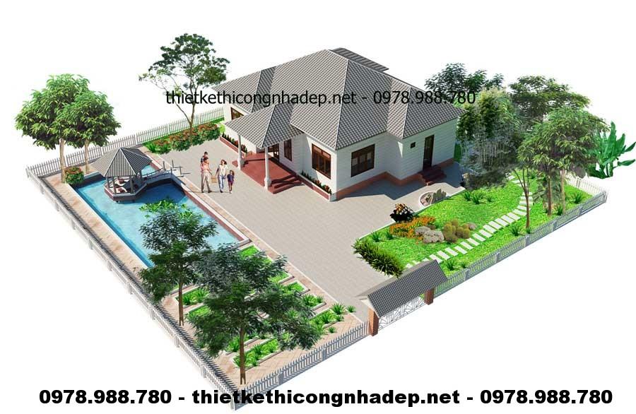 Tổng thể nhà vườn 1 tầng 12x13m