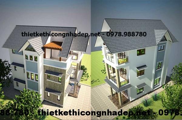 Biệt thự 3 tầng mái thái 8x12m