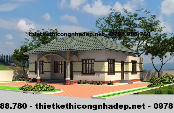 Mẫu thiết kế nhà biệt thự đẹp 1 tầng 8x13m tại Bắc Giang