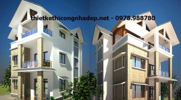 Thiết kế mẫu nhà biệt thự 3 tầng mái thái 8x12m Phú Thọ