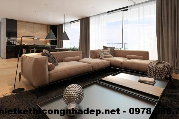 Sofa góc nỉ chung cư