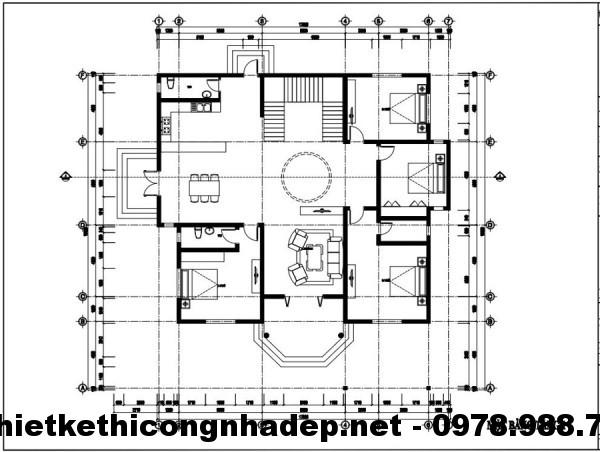 Mặt bằng tầng 1 biệt thự 15x15m