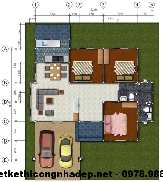 Biệt thự nhà vườn 1 tầng mái thái 10x11m