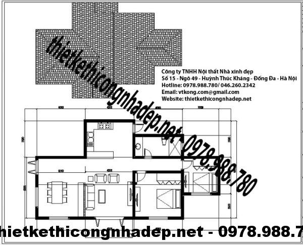 Mặt bằng biệt thự 1 tầng 8x15m