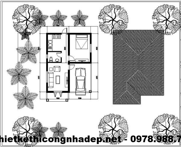 Mặt bằng nhà nhỏ xinh 40m2