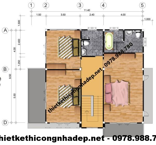 Mặt bằng tầng 2 biệt thự NDBT2T1