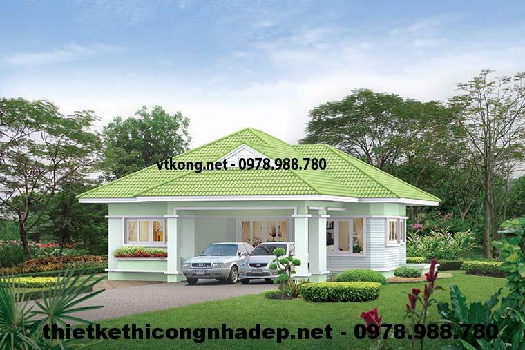 Nhà đẹp 1 tầng mái thái 12x12m