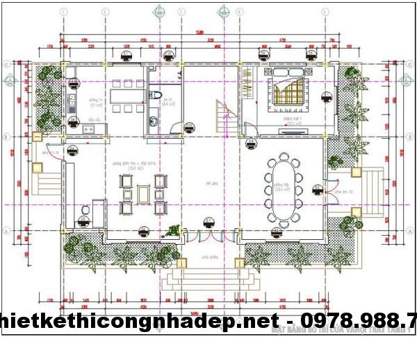 Mặt bằng tầng 1 biệt thự 2 tầng NDBT2T2