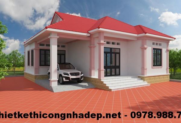 Thiết kế nhà 1 tầng 4 phòng ngủ NDBT1T2