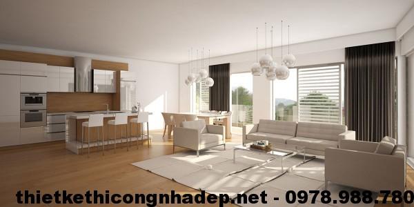 Phòng khách trong thiết kế nội thất chung cư hiện đại The Light