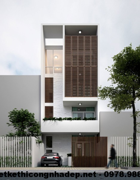 Nhà phố đẹp 4 tầng, mẫu thiết kế nhà ống 4 tầng NDNP4T1