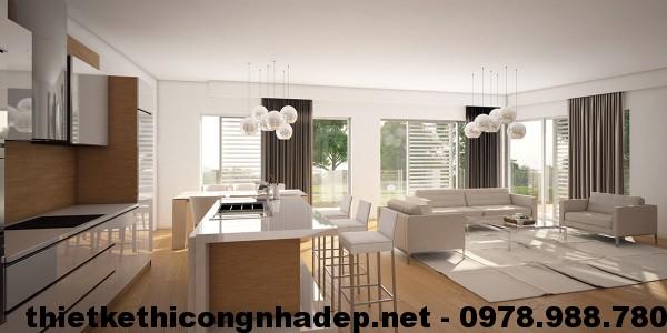 Phòng bếp trong thiết kế nội thất chung cư hiện đại The Light