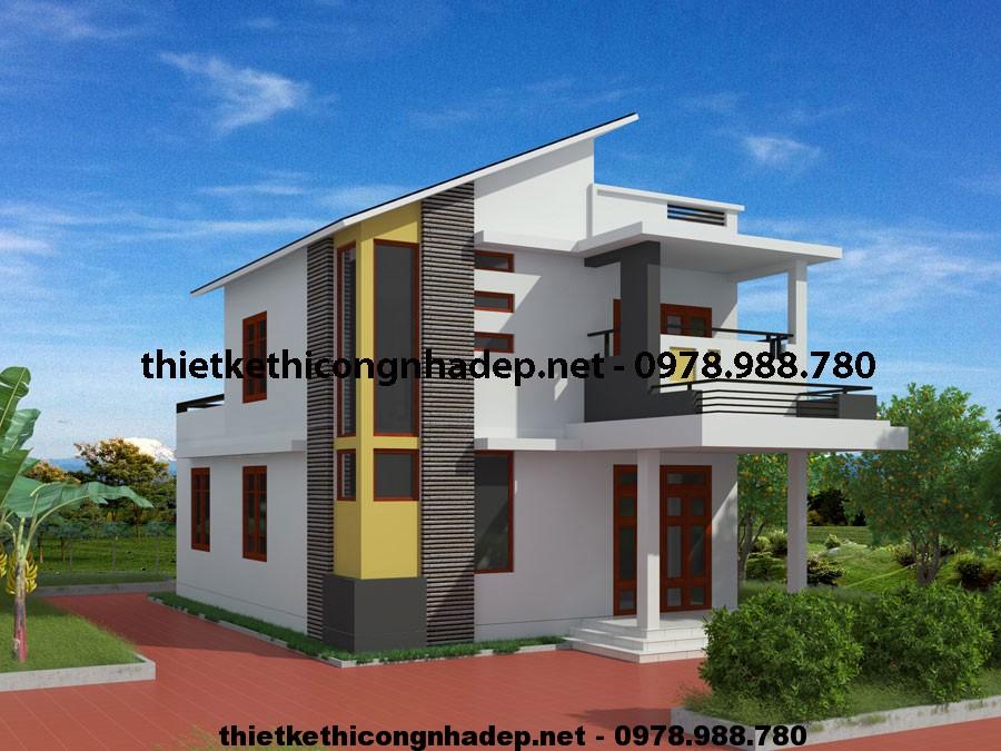 Biệt thự 2 tầng mái lệch NDBT2T6