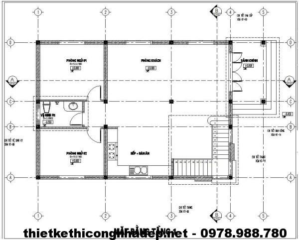 Mặt bằng tầng 1 biệt thự NDBT2T6