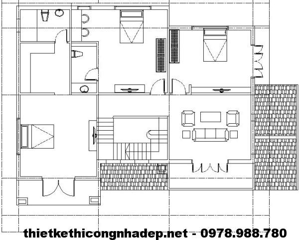 Mặt bằng tầng 2 biệt thự 2 tầng NDBT2T5