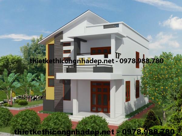 Mẫu nhà 2 tầng mái lệch 8x10m