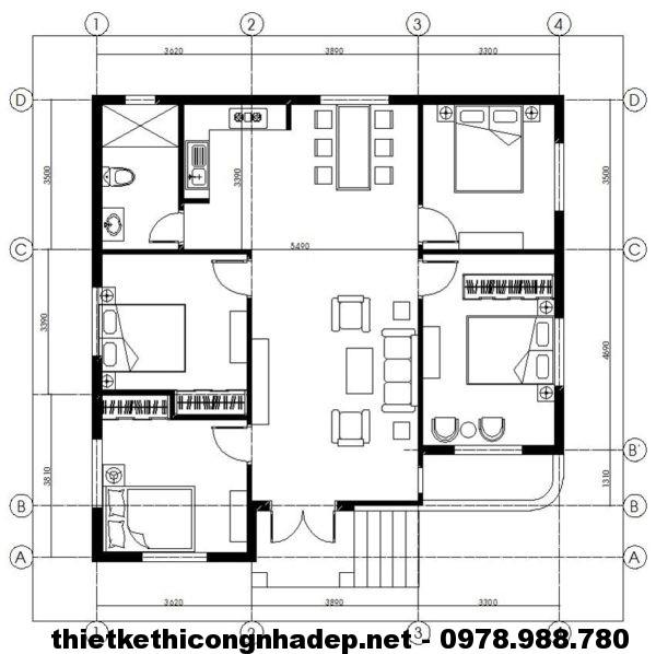 Mặt bằng biệt thự 1 tầng NDBT1T7