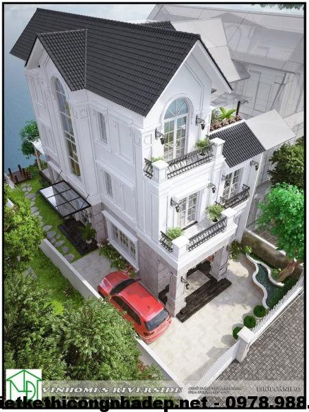 Phối cảnh tổng thể biệt thự 3 tầng mái thái NDBT3T2
