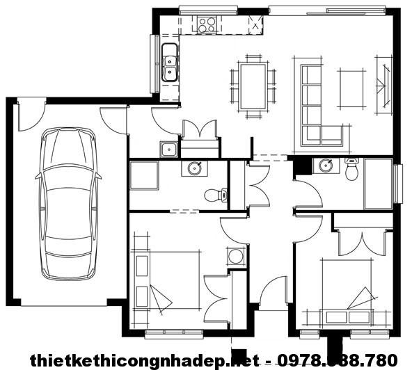 Mặt bằng biệt thự 1 tầng mái thái NDBT1T10