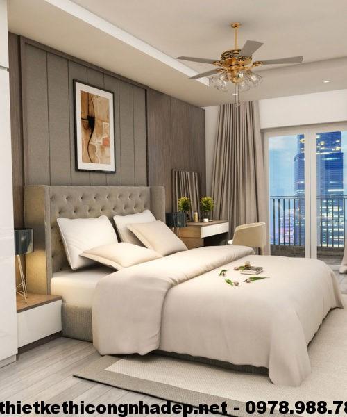 Thiết kế nội thất phòng ngủ đẹp, giường ngủ bọc nỉ NDNTPN1