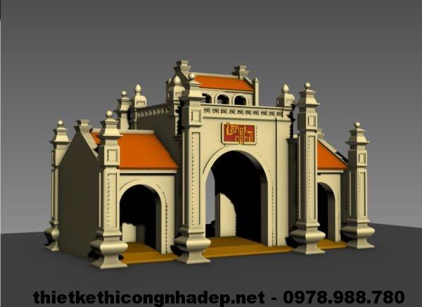15 mẫu cổng tam quan chùa, bản vẽ cổng tam quan đẹp