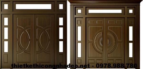 Mẫu cửa gỗ đẹp 4 cánh