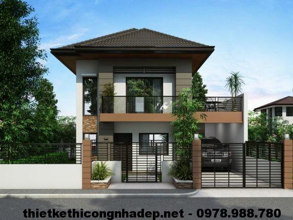 Thiết kế nhà đẹp 2 tầng NDMN2T3