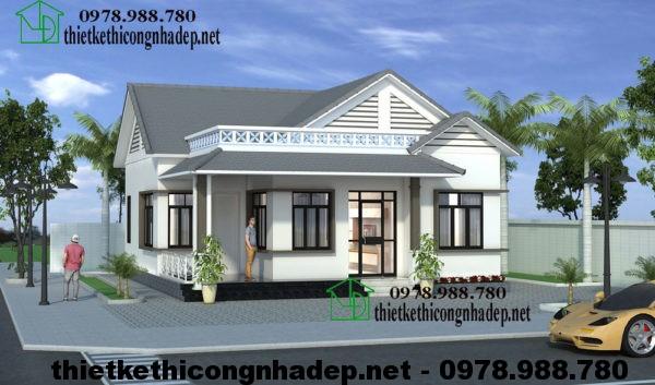 Biệt thự 1 tầng mái thái, nhà biệt thự 1 tầng mái thái đẹp NDBT1T12