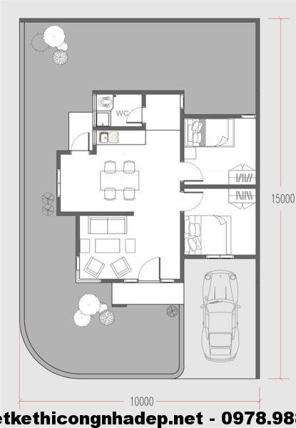 Thiết kế nhà cấp 4 nhỏ gọn NDNC415