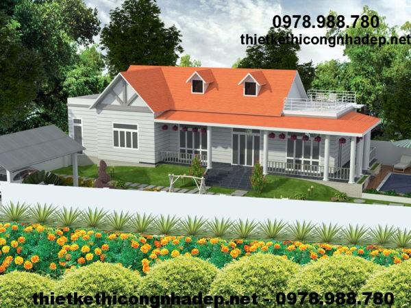 Biệt thự vườn 1 tầng đẹp, thiết kế nhà biệt thự 1 tầng NDBT1T13