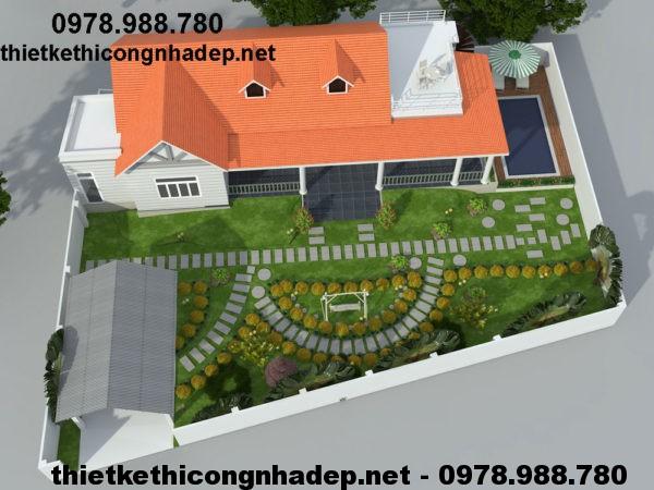 Thiết kế nhà biệt thự 1 tầng NDBT1T13