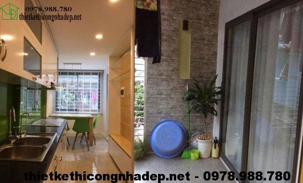 Phòng bếp và ban công nhà phố 3 tầng NDNP3T5