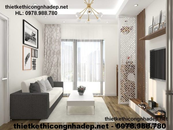 Phòng khách hiện đại của thiết kế nội thất nhà chung cư 70m2 căn hộ 219