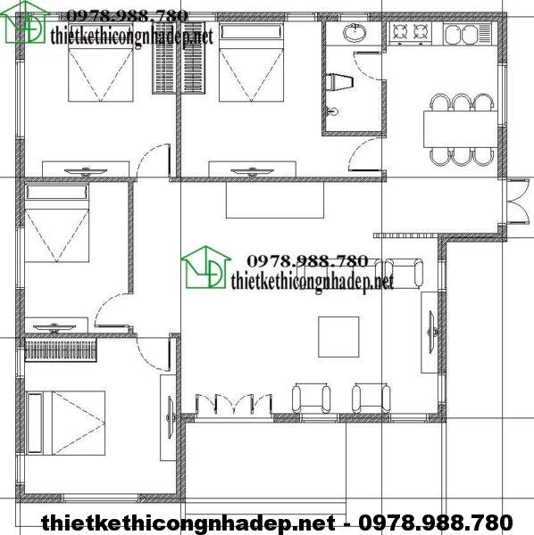Mặt bằng biệt thự 1 tầng đẹp NDBT1T15
