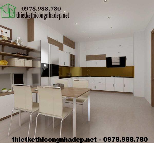 Mẫu thiết kế căn hộ 70m2 với phòng bếp hiện đại