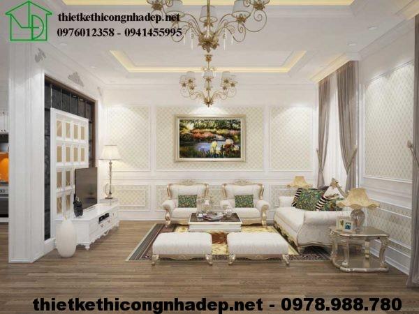 Sofa tân cổ điển biệt thự 3 tầng NDBT3T4