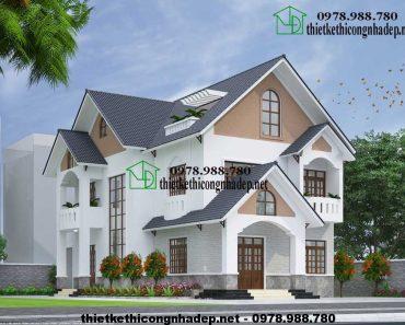 Thiết kế biệt thự 2 tầng đẹp NDBT2T15