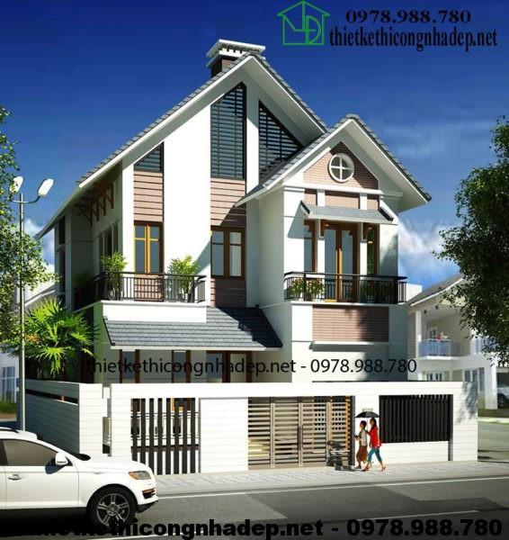 Mẫu nhà 2 tầng mái thái NDBT2T18