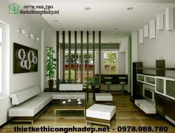 Nội thất phòng khách biệt thự mini 1 tầng NDBT1T18