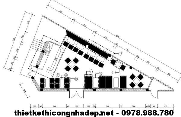 Mặt bằng quán cafe hình tam giác NDCF4