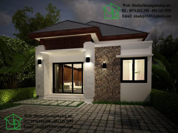 Mẫu thiết kế nhà cấp 4 mái thái đẹp NDNC429