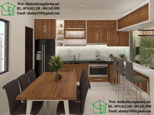 Nội thất phòng bếp nhà phố 3 tầng 5x20m NDNP3T8