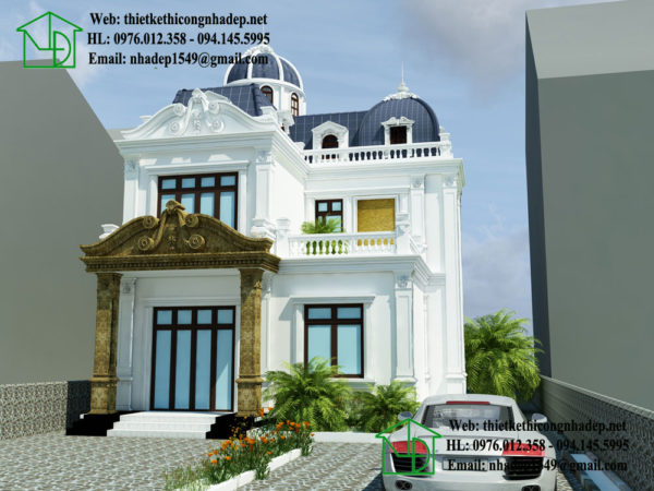 Thiết kế biệt thự cổ điển 2 tầng đẹp NDBTCDP4